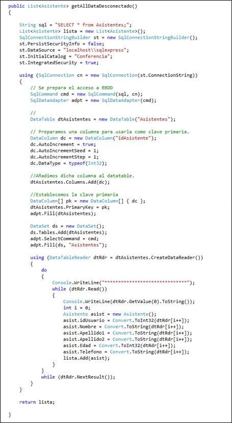 Acceso a Bases de Datos - ADO.NET - Modo Desconectado, con ASP .Net y MVC4 4