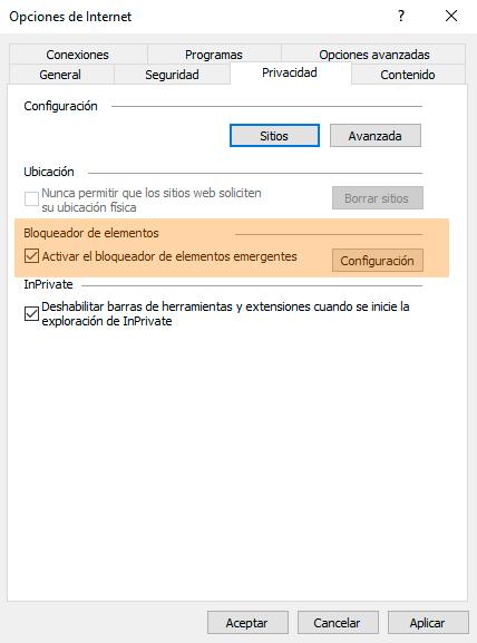 Desactivar el bloqueador de elementos emergentes